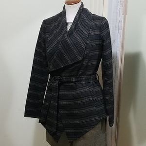 Jack Wool Blend Striped Wide Collar Wrap Coat S
